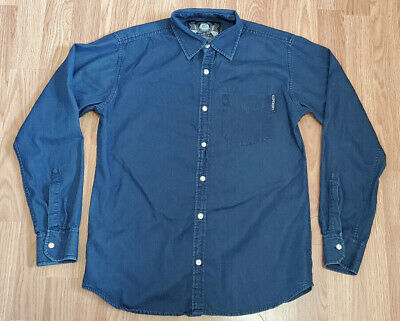 SUPERDRY Long Sleeve Mens Button Shirt Size Large Blue Denim Style