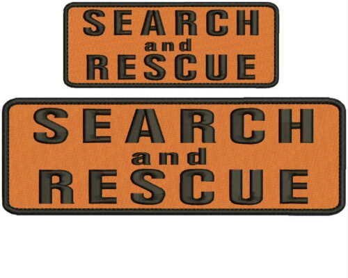 Search and Rescue embroidery patches 4x10 and 2x5 hook on back orange