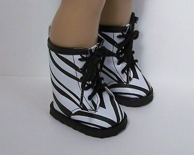 BLACK Zebra Animal Print Combat Boots Doll Shoes For 18