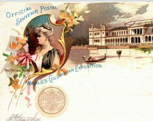 1893 Chicago Columbian Exposition Postcard Mrs. Potter Palmer & Woman