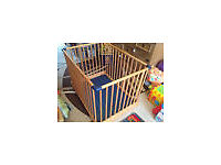 Baby Play Pen, Blue, £40, Like new, Solid Wood