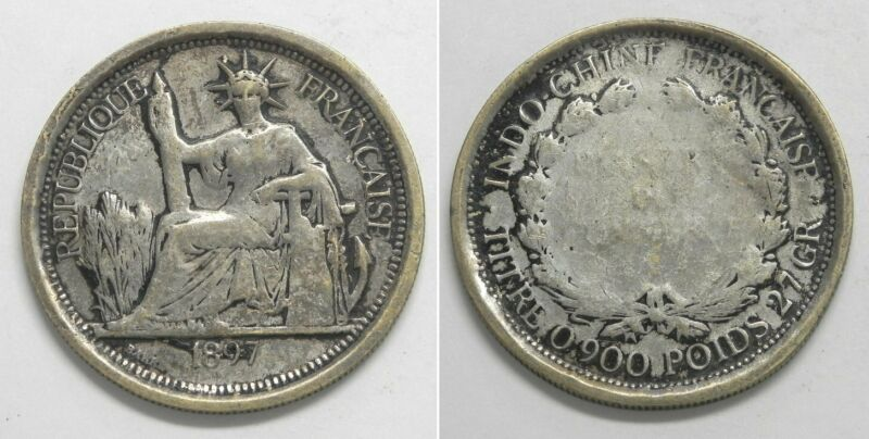 X1529  1897 A FRENCH INDO-CHINA 1 Piastre Silver Coin, KM 5a.1