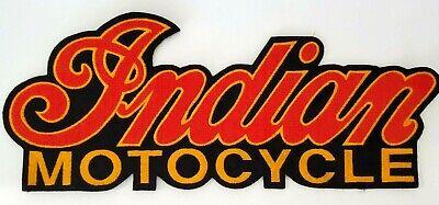 """RARE NEW Classic """"INDIAN MOTOCYCLE"""" LOGO SCRIPT Biker Vest Patch VTG NOS 14"""" XXL"""
