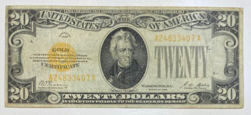 1928 Small $20 Gold Certificate Currency Note Serial #24833407