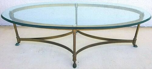 NO GLASS Vtg La Barge Hollywood Regency Brass Hoof Footed Cocktail Coffee Table