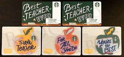 NEW Starbucks BEST TEACHER (Standard & Print Mark) & 3 MINI DIE CAST Gift