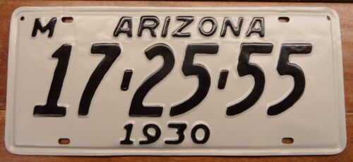 NICE LOOKING, RESTORED, HARDER TO FIND 1930 ARIZONA LICENSE PLATE, DMV CLEAR!