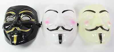 White Black Yellow V for Vendetta Guy Fawkes Anonymous Costume Halloween  Masks (Black Guys Halloween Costumes)