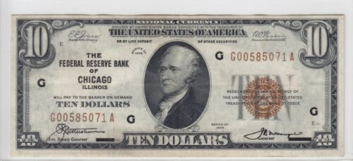 1929 Federal Reserve Bank of Chicago, IL $10 Note FR#1860G G00585071A