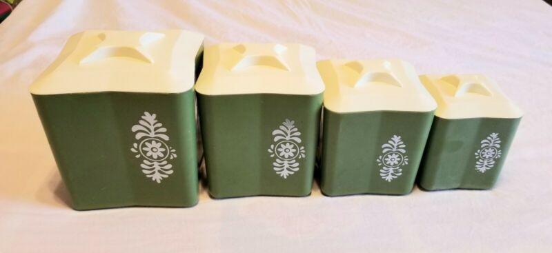 Vintage Green Plastic 4 Canister Set Flour Sugar Coffee Tea