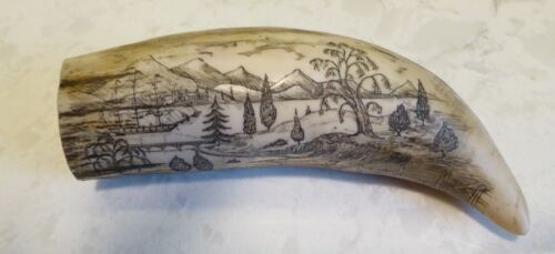 Vtg Replica Scrimshaw Whale Tooth Detailed Scrimshaw Art The Cultivator Ship