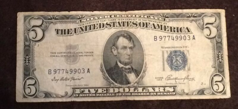 1953 Five Dollar Bill Blue Seal Note Randomly Hand Picked Vg/Fine FREE SHIPPING