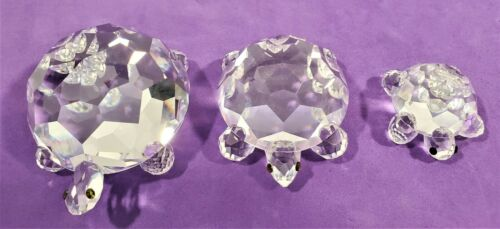 Swarovski Silver Crystal 3 Turtle Lot King 7632 75, Large 7632 45, Small 7632 30