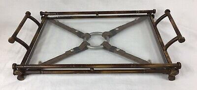 Vintage Serving Tray, Faux Bamboo Frame, Equestrian Strapes, Jacques Adnet Style