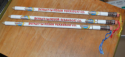 "VTG Detroit-Windsor Ferryboat Souvenir 3 Giant Pencil Lot Set 15"" Tassels NOS N"