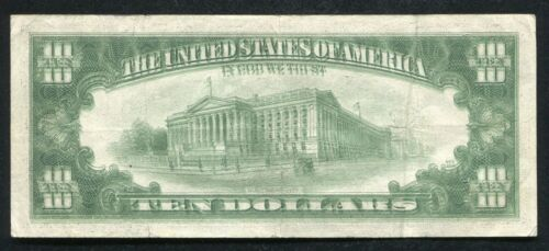 """1985 $10 FRN FEDERAL RESERVE NOTE """"MAJOR DOUBLE IMPRESSION ERROR"""" VERY FINE"""