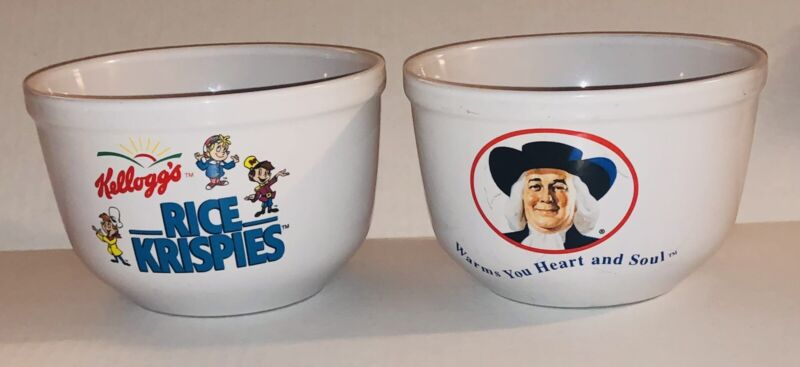 Houston Harvest Quaker Oats And Kellogg's Rice Krispies Ceramic Cereal Bowls