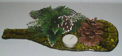 Flattened Melted Glass Wine Bottle Decorative Holiday Decor Display Platter Tray