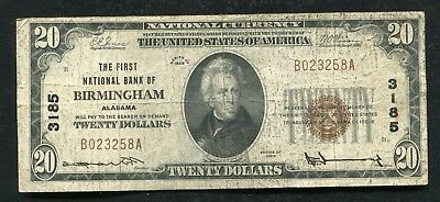 1929  20 The First National Bank Of Birmingham  Al National Currency Ch   3185