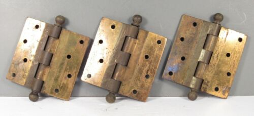 """ANTIQUE STANLEY SWEETHEART BALL TIP HINGES GROUP OF THREE 4 X 4"""""""