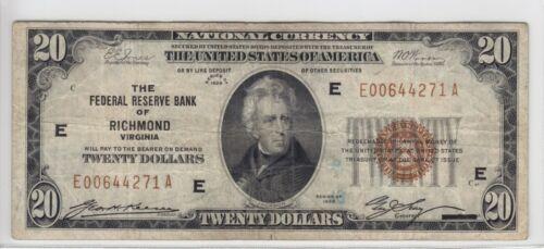 1929 Federal Reserve Bank of Richmond, VA $20 Note FR#1870-E E00644271A