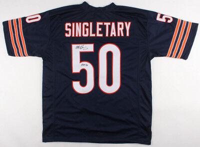 0d1b10370 Mike Singletary Chicago Bears Signed Autograph Blue Football Jersey JSA COA