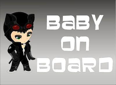 Catwoman Baby on Board / DC Comic Superheros / Vinyl Vehicle Kids Window - Baby Catwoman