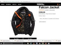 SUPERDRY REAL LEATHER FALCON Jacket RARE LARGE L black not brad RYAN