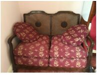 French 'Louis' style comfy 2-seater sofa w/ rattan back and red pattern double seat pads & cushions
