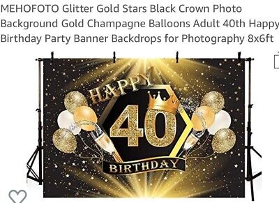 Decorations For 40th Birthday ( Adult 40th Happy Birthday Party Banner Backdrops for Photography)