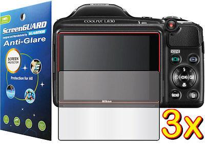3x Anti-Glare Matte LCD Screen Protector Guard for Nikon Coolpix L830 Camera