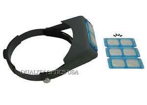 Professional-Optical-Glass-4-Lens-Head-Visor-Magnifier-Jewelers-Loupe-Binocular