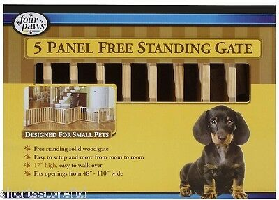 NEW Four Paws 5 Panel Free Standing Walk Over Wood Gate 110 by 17 Inch Pet Fence