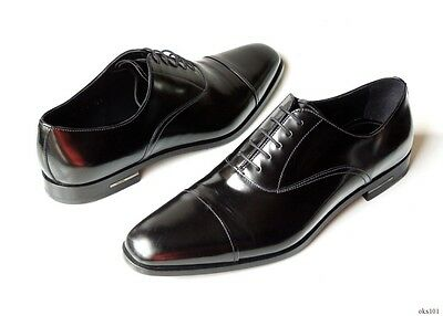 new $830 men's PRADA black leather Spazzolato oxfords shoes 10.5 US 11.5 (Best Men's Dress Oxford Shoes)