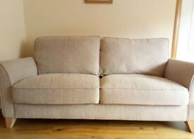 SOFA, THREE SEATER WITH NEUTRAL COLOUR FABRIC,