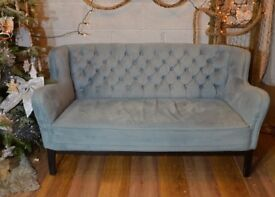 Chesterfield 2 Seater Vintage Fabric Sofa Couch Settle Duck Egg