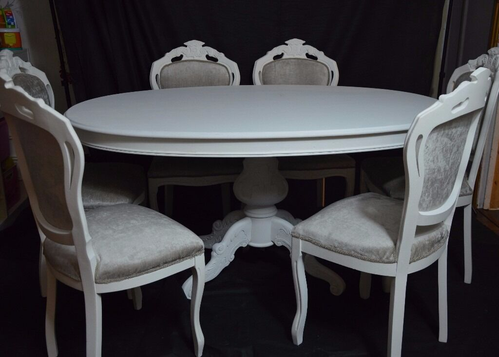 shabby chic french louis style oval dining table 6 louis. Black Bedroom Furniture Sets. Home Design Ideas