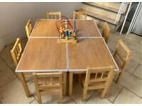 Ikea 4 children's tables and 8 chairs, stackable