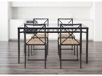 IKEA Granas metal and glass table with 6 chairs