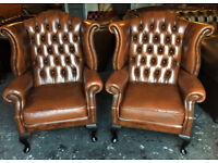Tan leather Chesterfield wingbacks