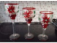 Christmas Home Decor - Set of 3 Candle Holders - Crackled Glass & Hand-painted Red Poinsettia Design
