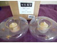 Pack of 2 Next Star Tea Lights - glass bowls star decoration RRP £11.99