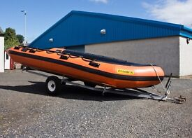 Humber Inflatable Boat (5m), Mariner 40hp outboard (2-stroke), and single-axle trailer