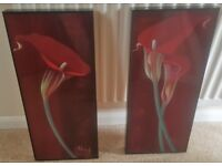 Pair of Red Flower Pictures in Black Frames