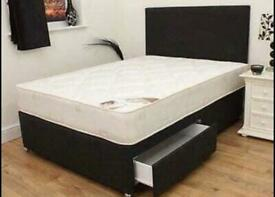 Rand new double divan bed with matttess and headboard