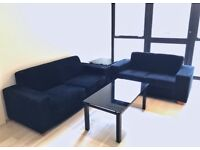 3 + 2 Seater black cord sofa set / living room tables