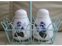 "China - SALT & PEPPER POTS in pretty decorative holder with handle, pots 4"" H x 2.5"" holder 7"" x 4"""