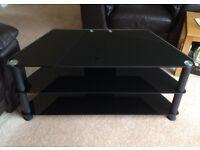 Large glass corner TV stand - all black