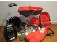 Stokke Xplory pram pushchair inc footmuff, carrycot, maxi cosi car seat and base