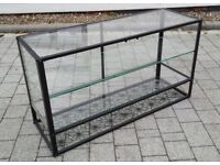 Black Metal Side Cabinet with Glass Top and Glass Shelves Shelf Unit